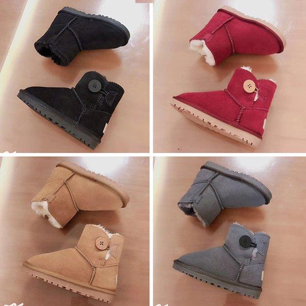 UGG Boots Kız Erkek Kar botları Kış Çocuk Pamuk ayakkabı Rahat, sıcak Yarım bot İnek Muscle Bebek ayakkabıları Çocuk çizmeler Siyah Kahverengi Gül