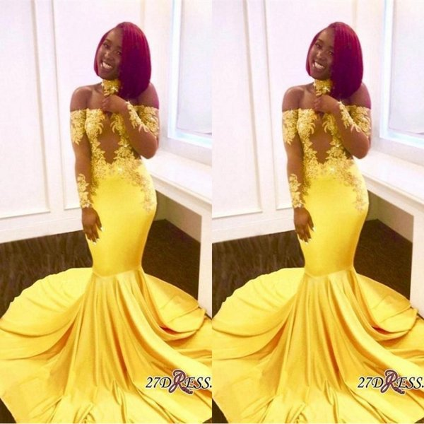 2019 Yellow African Mermaid Prom Dresses Long Lace Off Shoulder Long Sleeves See Through Sweep Train Formal Evening Party Wear Gowns BA7903