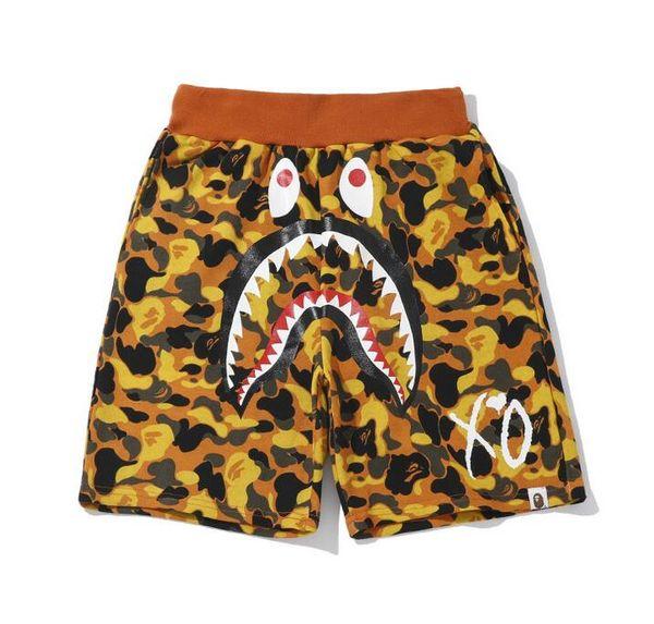 Summer Fashion Brand Men Women Camo Shark Mouth Print Casual Pants Shorts Men's Summer Personality Splice Loose Hip Hop Shorts