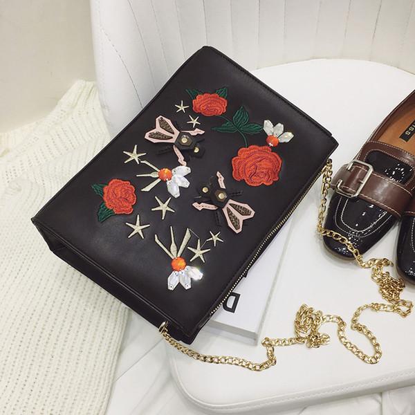 Ricami moda fiore rosso nero spalla dell'unità di elaborazione sacchetto di frizioni di cuoio delle signore di giorno busta borsa borsa borsa crossbody messenger