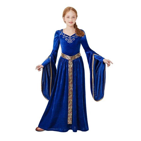 Princesa del traje Pettigirl vestido largo de la vendimia niñas medieval azul del renacimiento derechos Cosplay Ropa para niños Fantasía G-DMGD205-G011