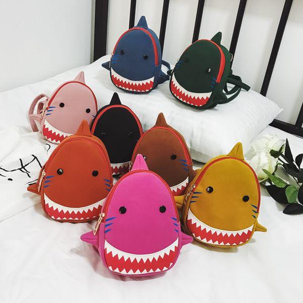 Bebê Tubarão Mochila Crianças Crianças Bonito Mochila De Pelúcia Dos Desenhos Animados 3D Animal Impresso Kinderegarten Sacos kid sacos