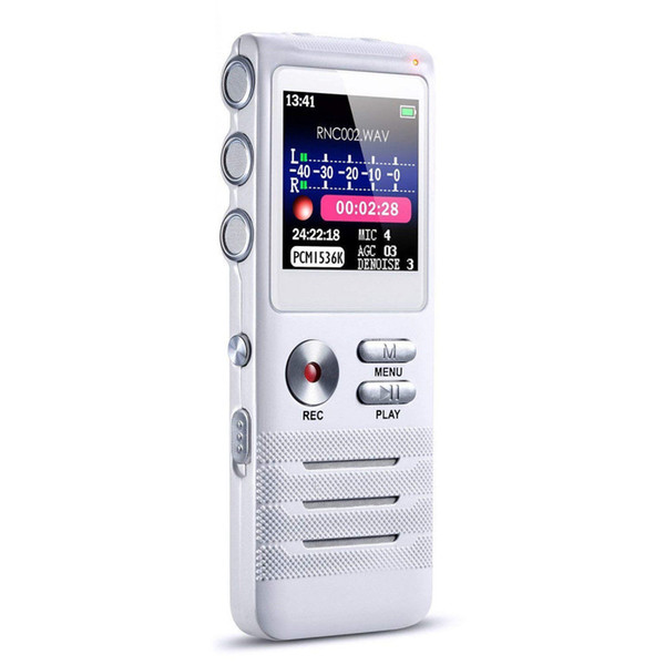 8GB Portable Audio Noise Reduction Multi-Languages Long Lasting Voice Activated Digital Recorder Dual Microphones Professional