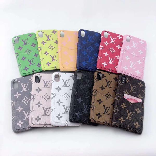Bunter Luxusdesigner-intelligenter Telefon-Handy-Kasten für iPhone X XS maximales XR 6 6s 7 8 plus Gesäßtasche für Karten-Geld-Mappen-Iphone Fall