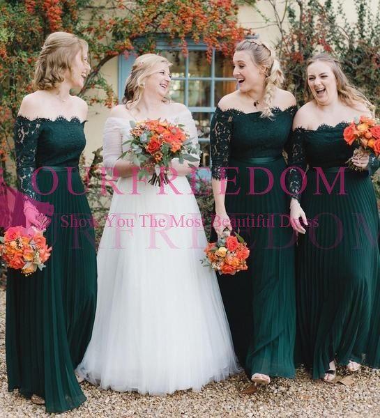2019 elegante pizzo verde scuro al largo della spalla abiti da damigella a maniche lunghe pieghe una linea pavimento damigella d'onore abito da sposa ospite