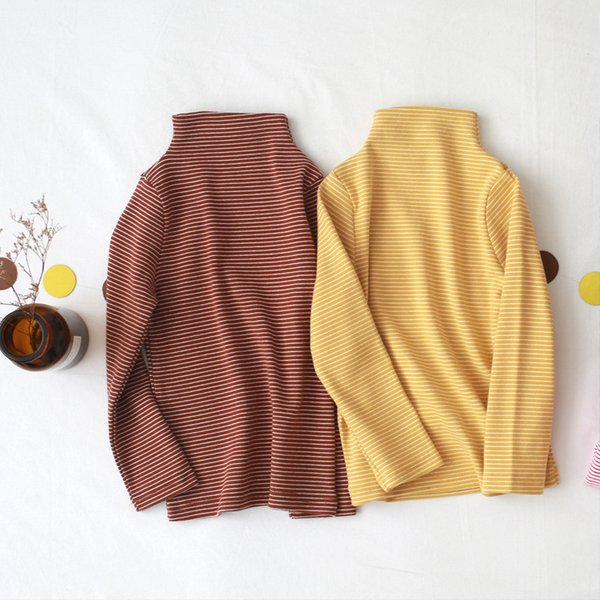 best selling 2020 Spring Autumn New Style Kid Girls Long Sleeve Shirts Casual Striped Cotton Turtleneck Pullover Clothing Shirt For Girls Y200704