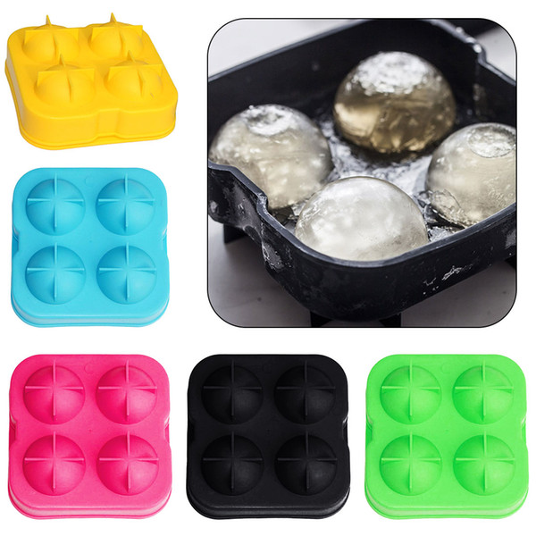 4 Holes Whiskey Ice Cube Ball Maker Mold Mould Drinking Wine Tray Brick Round Bar Accessiories High Quality Random Color