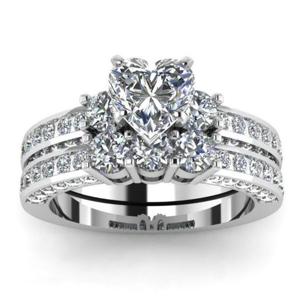 Magnifique Marque Bijoux En Argent Sterling 925 Blanc Saphir Diamant Coeur Bague Ensemble De Noël Anniversaire Proposition Cadeau De Mariage De Mariage Bijoux