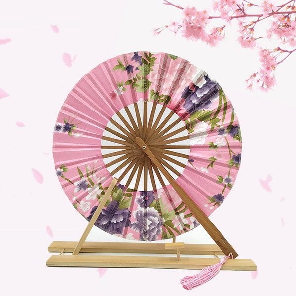 High Quality Japanese Sakura Flower Delicate Packaging Chinese Flower Bamboo Folding Hand Fan for Wedding Christmas Party