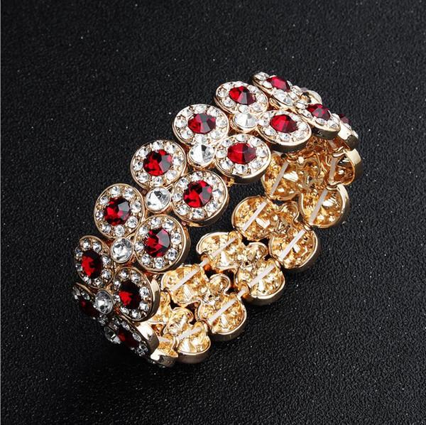 New Elastic Crystal Designer Bracelet Fashion Diamond Heart Crown Charm Bracelets Bangle Cuff Snap Jewelry Free Shipping