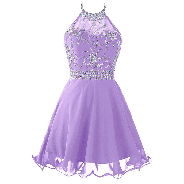 top popular Beaded Crystal Chiffon Homecoming Dresses with Halter Neckline 2019 Short Prom Gowns Backless Party Dress Lavender Royal Blue Navy 2020