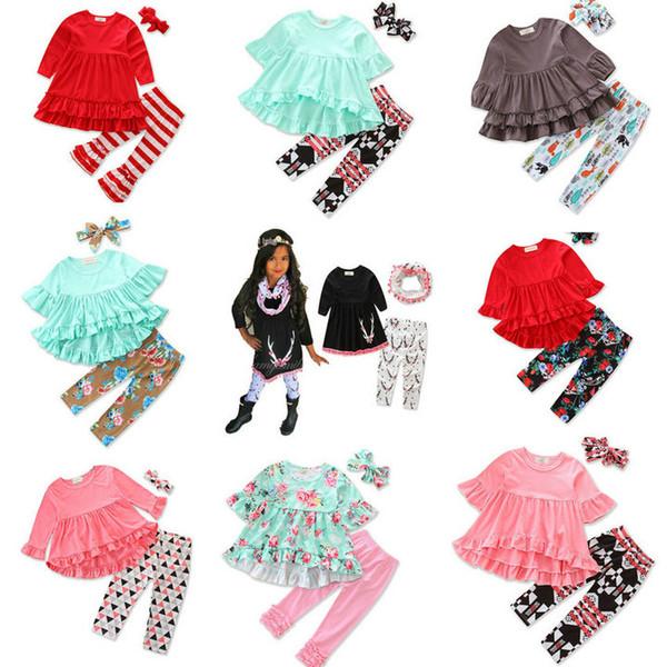 Розничная 9 стилей новорожденных девочек рождественские наряды комплект 3шт (нерегулярные красная футболка + расклешенные брюки + оголовье с бантом) детские дизайнерские спортивные костюмы комплект костюмов для девочек
