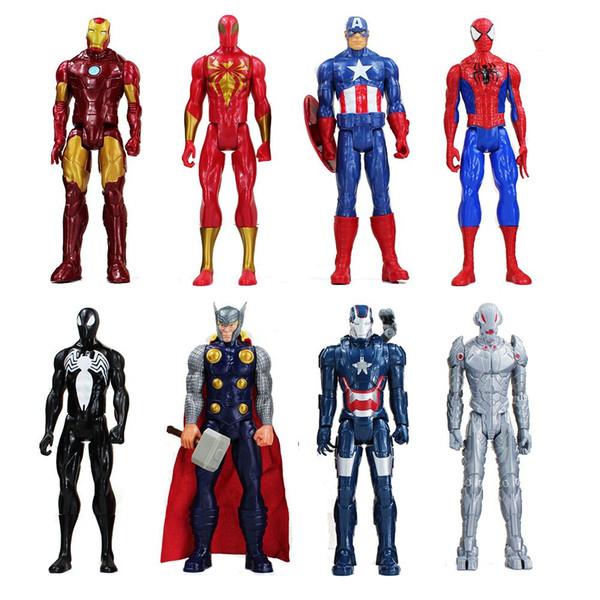 30cm Anime Süper Kahraman Iron Man Kaptan Amerika Spiderman Yeşil Goblin Venom Ultron Pvc Eylem Şekil Can Modeli Oyuncak Taşındı