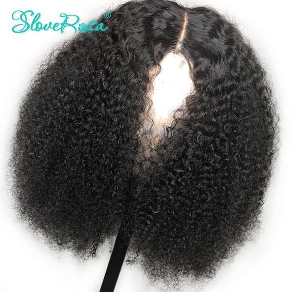 Avant de lacet Bob court perruques 150% Afro Kinky perruque humaine bouclée pré plumée noeuds blanchis Remy perruques de cheveux humains mongole Slove Rosa Y190713