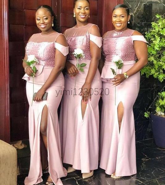 2020 Pearls Mermaid Bridesmaid Dresses Jewel Side Split Beads Peplum Plus Size African Wedding Guest Gowns robes de demoiselle d'honneur