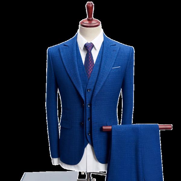 blue mens plaid suit three-piece set , navy blue men Blazer jacket with vest and pant Asian size