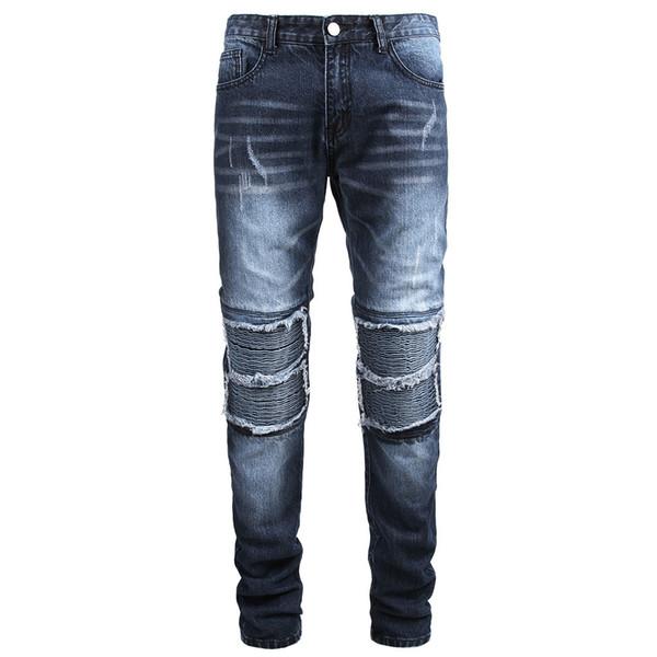 Personalità casuale degli uomini di modo Slim Fit Denim Jeans Pants rughe jogging Formato più Streetwear Pantalon homme pantaloni della tuta 28-42