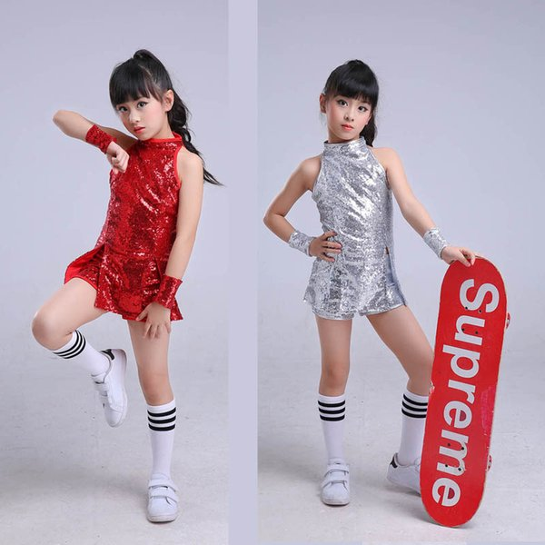 Children stage Dance wear Kid hip hop Jazz Dance costume clothes Suit sequins Modern dress Clothing for Girl Cheerleader sock