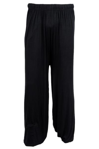 pantaloni di yoga allentata modale jogging bloomers pantaloni casa tai chi harem sudore sia uomini che donne-Black, XXL
