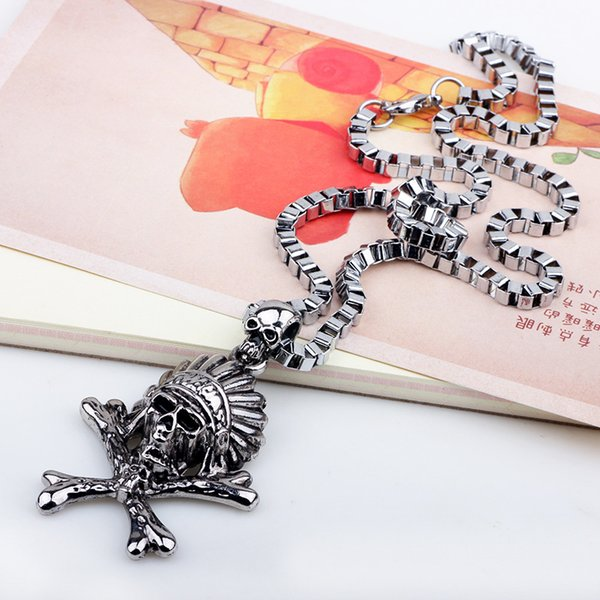 2019 Wholesale Stainless Steel Face Skull Pendent For Man Old Retro Vintage Punk Necklace Charm Pendant Free shipping