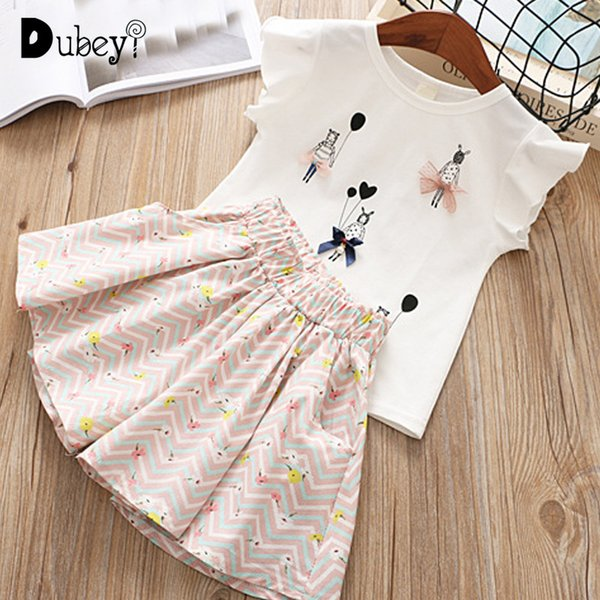 New Summer Little Girl Boutique Outfit Cartoon Girls Ruffle Outfits Toddler Girl Clothes for Holiday Casual Holiday