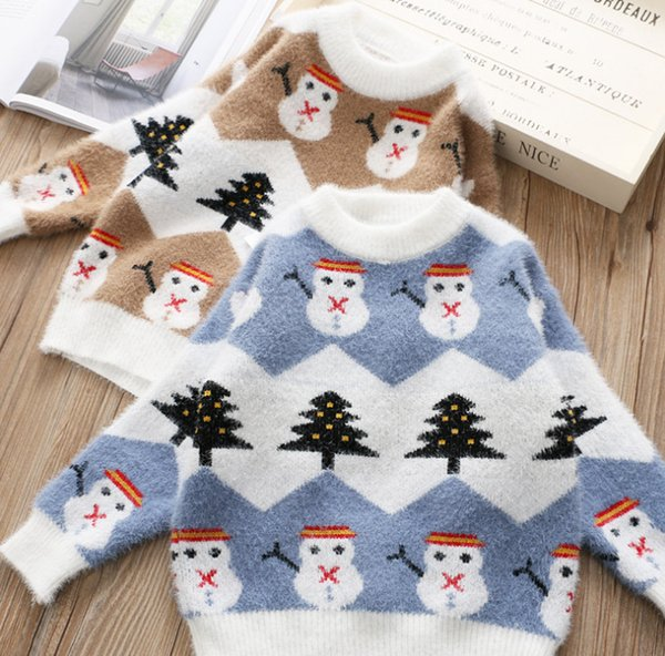 Christmas Sweater Pattern.Children Christmas Sweater Boys Girls Xmas Snow Tree Pattern Knitted Pullover Kids Fleece Knitted Round Collar Long Sleeve Jumper F2531 Pattern
