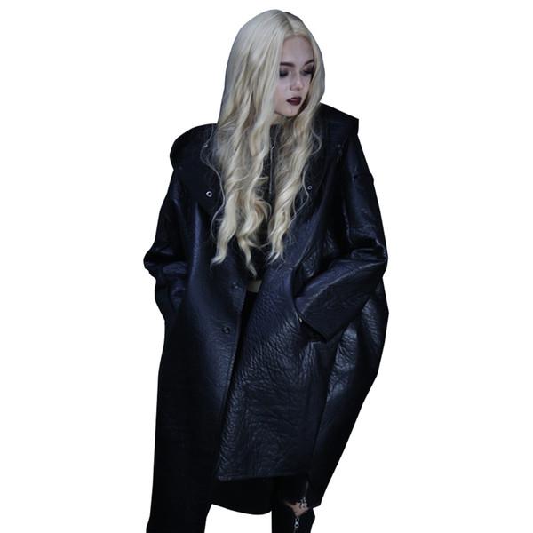 Punk Winter Women PU Leather jacket Asymmetric Long Casual Jacket Hoodies Velet Windbreaker Overcoats