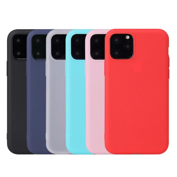 Ultrafino-Candy Cor Matte fosco suave TPU Phone Case Silicone à prova de choque de volta da tampa do iPhone para 11 Pro Max XR X XS 8 7 6 Plus DHL