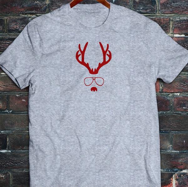 RED NOSE REINDEER MERRY CHRISTMAS GLASSES SANTA Mens Gray T-Shirt Tees Custom Jersey t shirt hoodie hip hop
