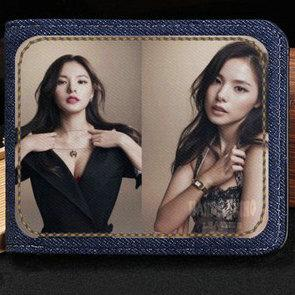 Rinz wallet Min Hyo rin purse Touch me music short cash note case Money notecase Leather jean burse bag Card holders