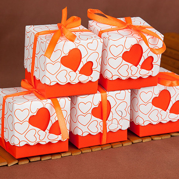 on sale Love candy box Hollow heart favor Holders Packing Square lace gift package boxes for birthday Christmas Wedding supplies