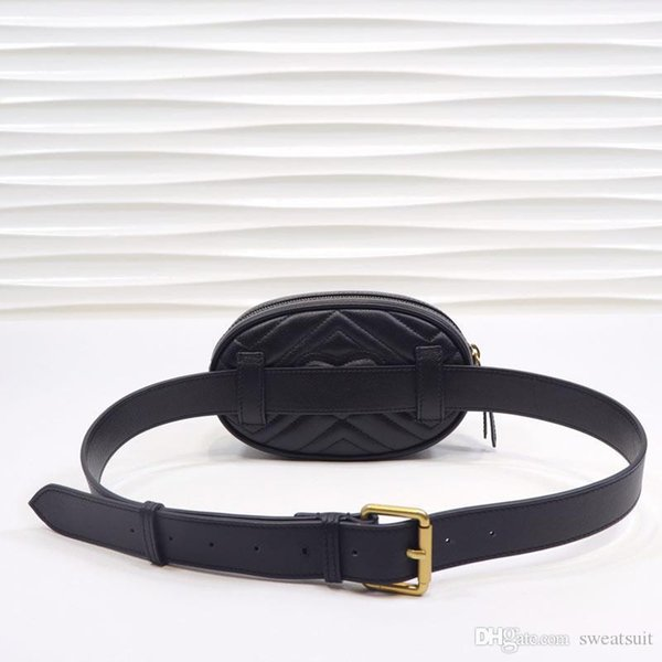 476434 Bolso para cinturón de cuero Marmont Matelasse, bolso de cintura, cierre superior con cremallera, forro de cuero, con caja y bolsa para el polvo, tarjetas, número de serie.