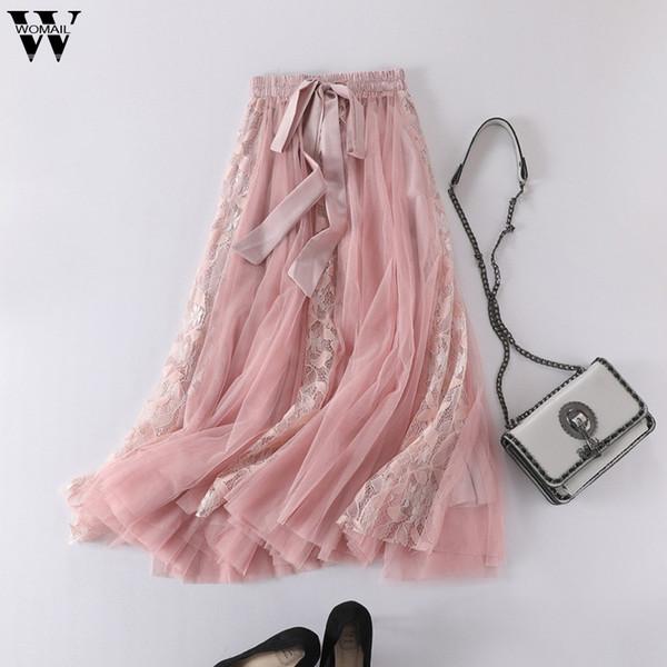 Womail Tulle Skirts Womens Midi Pleated Skirt Long Mesh Skirt 2019 Summer Korean Elastic High Waist Mesh Tutu M523
