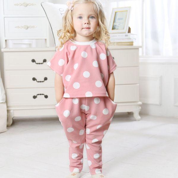 Polka Dot Girls Clothes Designer Floral Children Kids Sweatshirts T-shirts Pants Suits INS Newest Tops Pants Two-piece