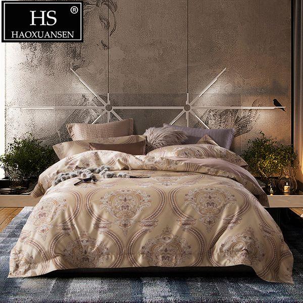 Light Yellow Luxury 60S Baroque Design Jacquard Bedding Sets Comforter Adult 4pcs Egyptian Cotton Satin Duvet Cover Set Queen King Size