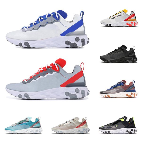2020 react element 55 87 running shoes for men women triple black Dusty Peach Anthracite mens trainer outdoor sports sneakers runners