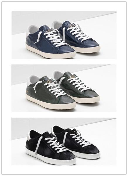2019 entrega gratuita GoldenGooseGDB zapatos deportivos vintage Cuero velloso zapatos casuales hombres y mujeres entrenador superestrella de lujo 36-46