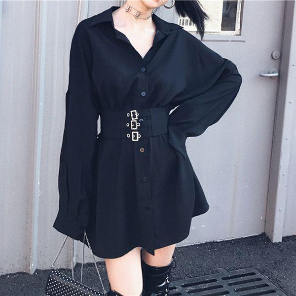 Spring Black Sashes Women's Shirt Feminine Blouse Top Casual Slim Waist Female Shirts Fashion Women Blouses Blusas Mujer Q190507