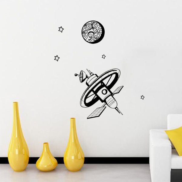 Creativas nuevas engomadas de la pared de la serie aeroespacial estilo europeo y americano creativas pegatinas de pared minimalista pegatinas de pared cósmica satélite