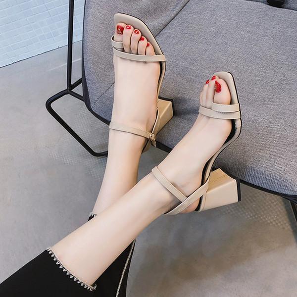 Hot2019 небольшой свежий высокий каблук грубый с сандалиями фея обувь женщина Xiafangtou поздно ночью обувь