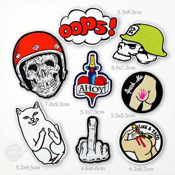 Spank Me Oops AHOY Skull Iron On Patches Badge Embroidery Patch Badges Applique Clothes Clothing Sewing Supplies Decorative