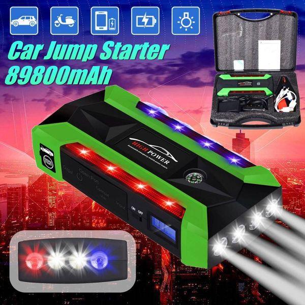 Multi-Function Portable 89800mAh Emergency Battery Charger Car Jump Starter 4 Lamp USB Power Bank Starting Device US/UK/AU/EU