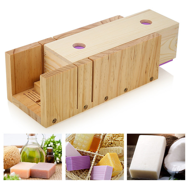 1200g Wooden Soap Loaf Cutter Mold With Scale And Rectangle Silicone Mould With Wood Box Non-stick Q190430