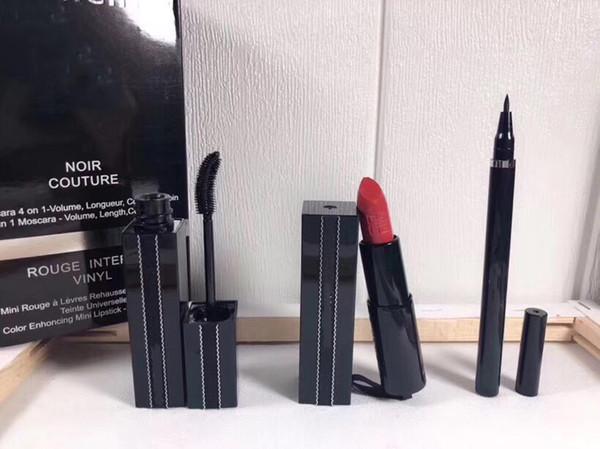 QUENTE !!! Famosa Cosméticos Maquiagem Kit Batom + Rímel + Delineador para Maquiagem Facial Atacado 3 em 1 Livre DHL