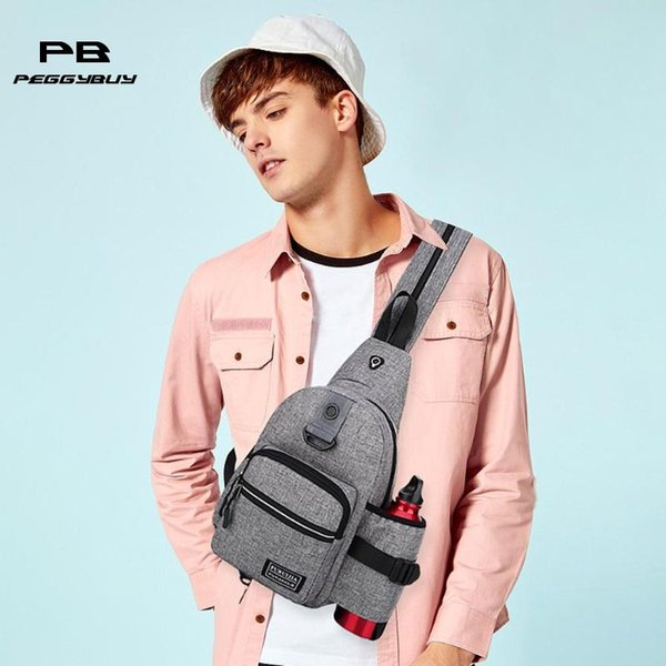 Men Messenger Chest Bags Sling Shoulder Satchel Crossbody Bags with Side Bottle Pocket Backpack Multifunctional Oxford bolsas