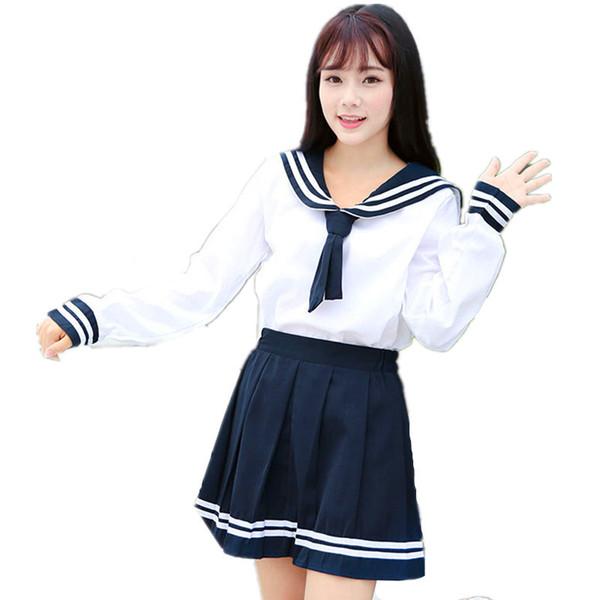 Autumn Japanese Uniforms Navy Sailor Suit For Women Kansai Students Long Sleeve Costume School Uniform For Girls C18122701