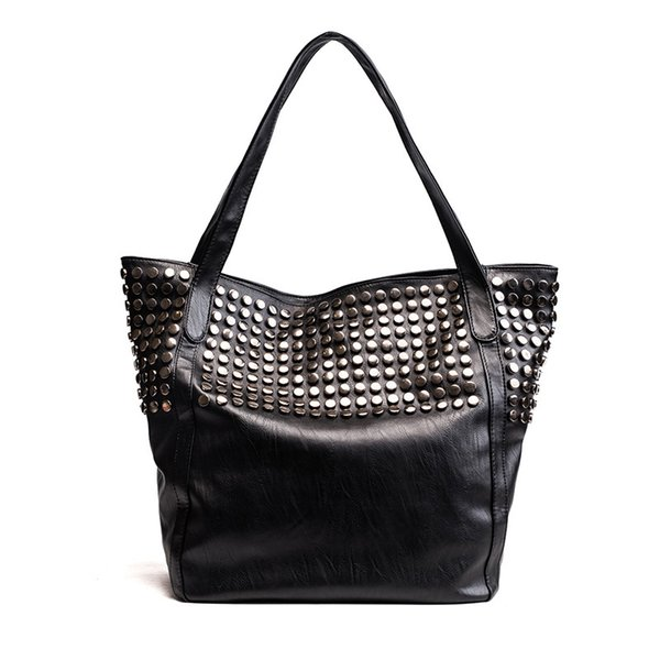 Fashion Totes Women PU Rock Punk Rivet Large Capacity Black Zipper Shoulder Bag