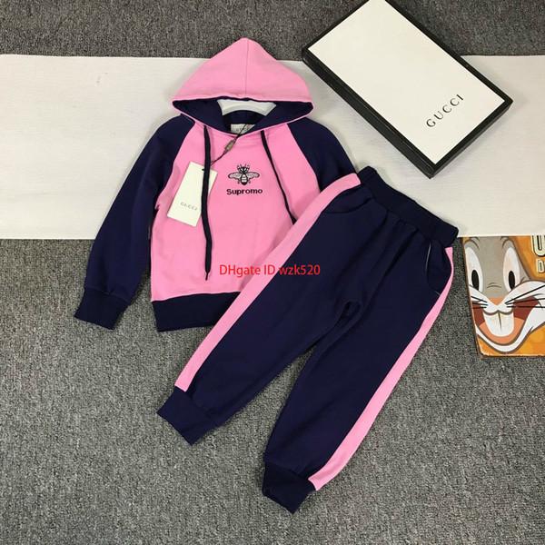 2019 Kızlar hoodies setleri çocuklar tasarımcı giyim renk hoodies + rahat pantolon 2 adet sonbahar yeni pantolon setleri pamuk