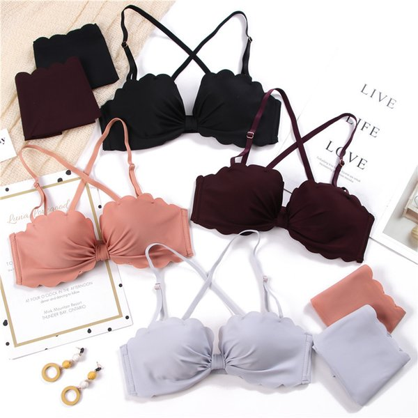 Comfortable Adjustable Sexy Seamless Bras For Women Ladies Wire Free Bow Wavy Edge Push Up Thick Cotton Lingerie Underwear