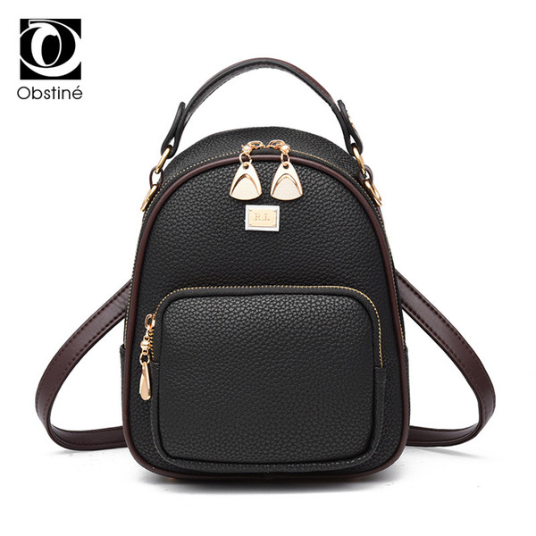 mini backpack female black women's backpacks small shoulder bag for phone solid back pack for girls high quality bagpack women